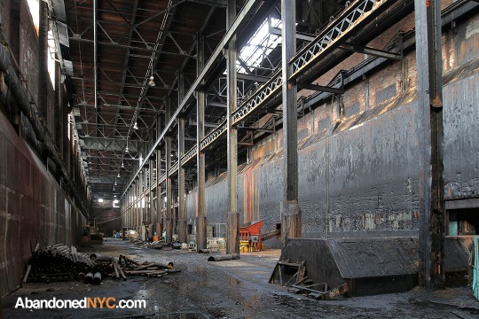 Inside the abandoned Domino Sugar Refinery's cavernous raw sugar warehouse.