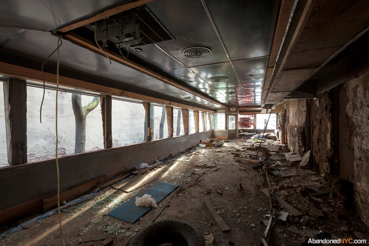 The lost diner interior was recently gutted, the result of vandalism.