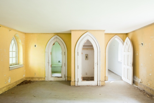 Gothic arches can be found on nearly every window and door of the structure.