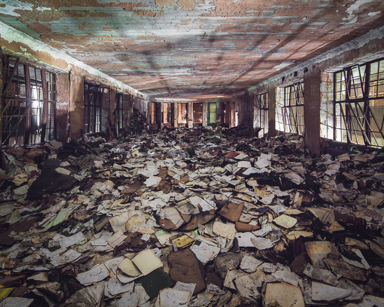 The last room I came to was the most surprising--a dayroom piled with several feet of hospital records, files, and audio tapes.