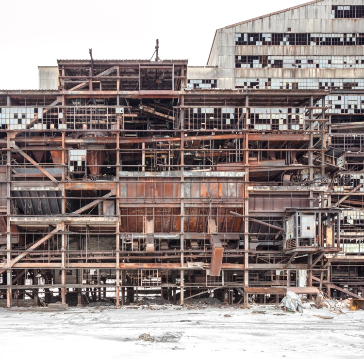 With exterior walls removed, skeletal views of the plant's interior come to light.