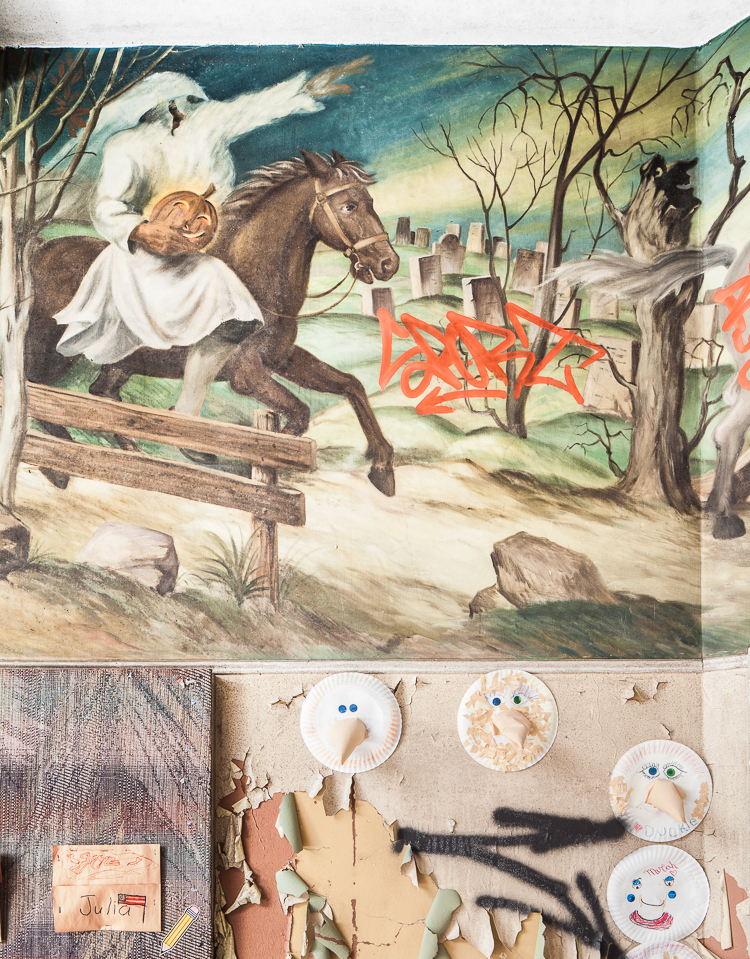 Ichabod Crane flees from the headless horseman in this scene from